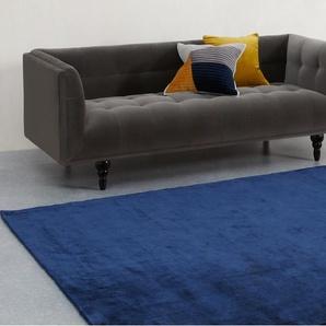 Merkoya, très grand tapis en viscose de qualité supérieure 200 x 300 cm, bleu de minuit