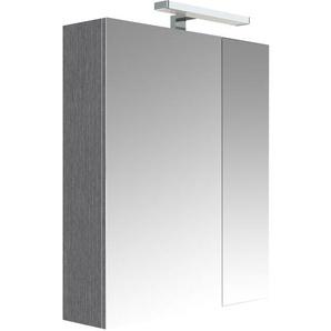 Meuble à miroir JUNO Chêne anthracite 60 cm - armoire de rangement pour salle de bain avec éclairage LED et bloc prise - ALLIBERT