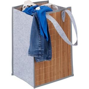 Sac à linge pliable anses, sac transport, sac de courses, panier à linge bambou feutre 70 litres, nature-gris - RELAXDAYS