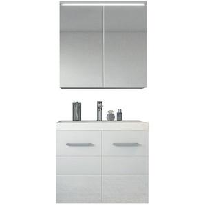 Meuble de salle de bain Toledo 02 60cm lavabo Blanc brillant – Armoire de rangement miroir armoire miroir - BADPLAATS