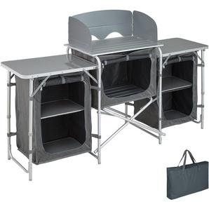 Cuisine dExtérieur, Cuisine de Camping Pliante, Meuble Camping de Rangement 164,5 cm x 52 cm x 104 cm - TECTAKE
