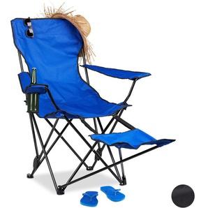 Chaise de camping pliante repose-pieds porte-boissons 120 kg fauteuil pliable pêche, bleu - RELAXDAYS