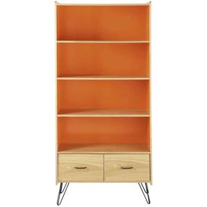 Bibliothèque vintage 2 tiroirs orange Twist