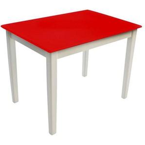 Kinderbunt Tim - Table d'Enfant bicolore - blanc/rouge/69x49x51cm/structure blanc RAL 9010