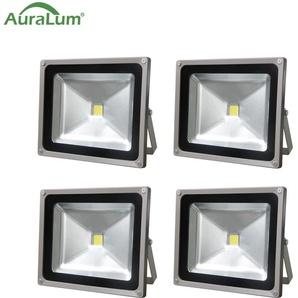 4×Auralum 50W Projecteur LED IP65 Spot LED Éclairage Extérieur et Intérieur 4200-5000LM Blanc Froid 6000-6500K Coque Gris