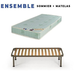 Matelas 80x190 + Sommier + pieds Offerts Mousse Poli Lattex Ind - KING OF DREAMS