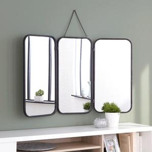 Miroir de barbier rectangulaire en métal noir 71x109.5cm