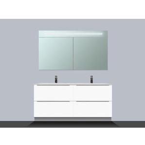 Saniclass EVO Meuble avec armoire miroir 120cm 4 tiroirs Blanc