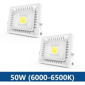 2×Anten 50W Projecteur LED IP65 Étanche Ultra-Mince Spot LED Léger Puissant Lampe pour Intérieur et Extérieur Blanc Froid 6000K (Blanc)