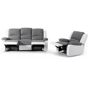 RELAX Ensemble canapé relaxation 3 places + fauteuil - Tissu gris et simili blanc - Contemporain - L 190 x P 93 cm + L 86 x P 90 cm