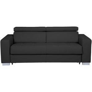 Canapé 3 places fixe en cuir de buffle noir