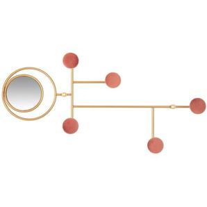 Patère 5 crochets en velours rose, verre et métal doré
