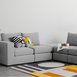 Mortimer, ensemble canapé et ottomane modulable, coton gris craie