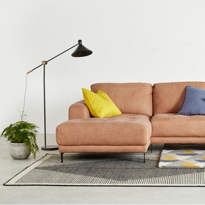 Luciano, canapé d'angle avec méridienne à gauche, cuir brun