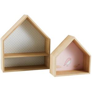 Etagères maisons en paulownia (x2)
