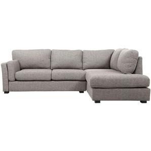 Canapé dangle droit design 5 places tissu gris MILORD