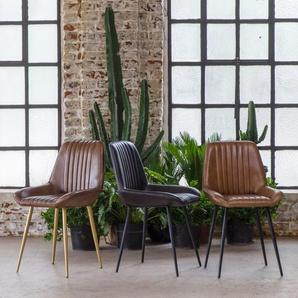 Chaise design cuir naturel marron - pieds noirs
