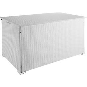 Coffre de Jardin de Rangement extérieur 750 L en Résine tressée et Aluminium Blanc - TECTAKE