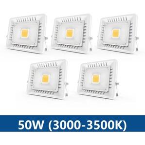 5×Anten 50W Projecteur LED IP65 Étanche Ultra-Mince Spot LED Léger Puissant pour Intérieur et Extérieur Blanc Chaud 3000K (Blanc)