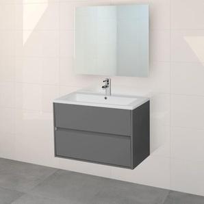 Adema Bella Meuble salle de bain avec miroir 80x45.5x55cm sans poignées avec trop-plein gris mat AC80GRIJS-GL+38722-70