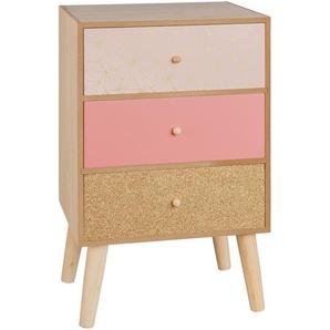Petit meuble de rangement 3 tiroirs rose et doré