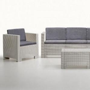 Salon de jardin 3+1+1 + table - Orlando XL - Blanc et gris