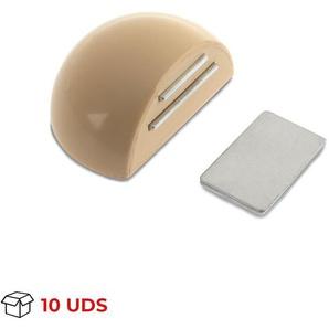 Boîte avec 10 Arrêt de porte avec aimant adhésif de marque REI, en plastique, fini crème et design arrondi