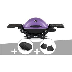 Barbecue gaz Weber Q 1200 Purple + Housse + Plan travail