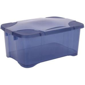 EDA PLASTIQUE Boîte de rangement ClipBox 30 L - Bleu couvercle avec charnière - 54 x 36 x 24,5 cm