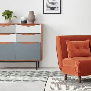 Haru, petit canapé convertible, velours flamme orange
