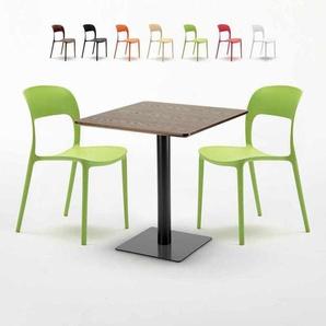 Table carrée 60x60 pied noir et plateau bois avec 2 chaises colorées RESTAURANT KISS | Vert - AHD AMAZING HOME DESIGN