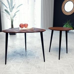 Tables basses - noyer, triangulaire/ronde, design scandinave, set de 2 tables basses - 59/40 x 47/47 x 61/40 cm, personnalisable