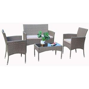 Eton ensemble de sofa de jardin dhiver en rotin de 4 pièces avec table et chaises - YAKOE