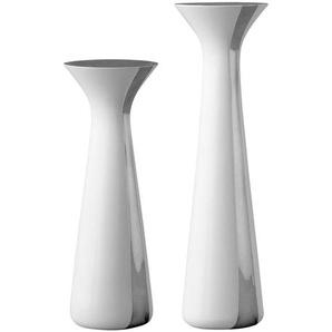 Stelton Unified - Bougeoir set de 2 - blanc/S: 6,5x6,5x17cm/L: 6,5x6,5x21cm