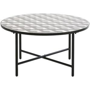 Table basse de jardin ronde en céramique grise et blanche Madagascar