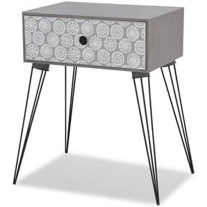 Table de nuit chevet commode armoire meuble chambre avec 1 tiroir rectangulaire gris - Gris - HELLOSHOP26