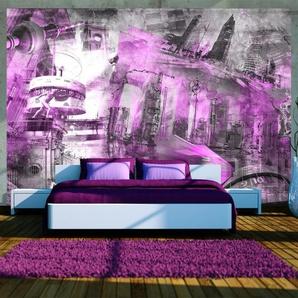 Papier peint - Berlin - collage (violet)