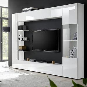 Meuble tv mural blanc laqué design FINO