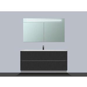 Saniclass EVO Meuble avec armoire miroir 100cm 1 trou pour robinetterie Black Diamond