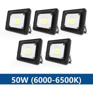 5×Anten 50W Projecteur LED IP65 Étanche Ultra-Mince Spot LED Léger Puissant Lampe pour Intérieur et Extérieur Blanc Froid 6000K (Noir)