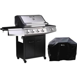 Barbecue gaz avec LED Bingo 5 - 5 Brûleurs dont 1 latéral - 15.2kW + Housse protection - Noir - HABITAT ET JARDIN