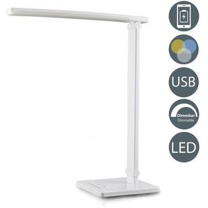Lampe LED de bureau blanche dimmable port USB lampe de lecture lampe de table - B.K.LICHT