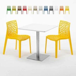 Table carrée blanche 70x70 avec pied en acier et 2 chaises colorées GRUVYER STRAWBERRY | Jaune - GRAND SOLEIL