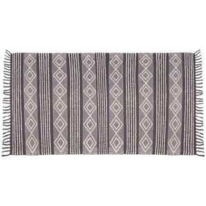 Tapis en coton gris foncé et blanc 90x150