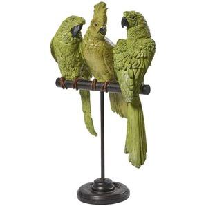 Statue perroquets verts et métal noir H50