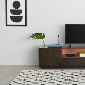 Anderson, meuble TV, bois de manguier teinté gris et cuivre