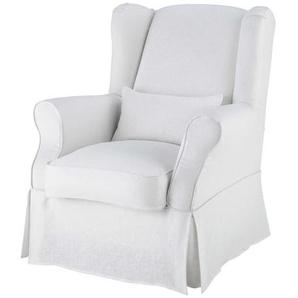 Housse de fauteuil en lin blanche Cottage