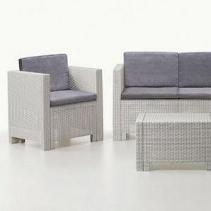 Salon de jardin 2+1+1 + table - Orlando - Blanc et gris