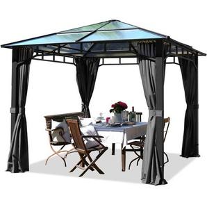 Pavillon de jardin 3x3m imperméable toit en polycarbonate ALU DELUXE tonnelle 8mm pavillon 4 côtés partie tente gris 9x9cm profil - INTENT24.FR