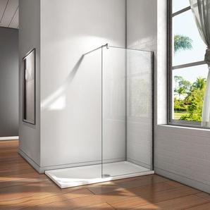 Paroi de douche 110x200cm en verre anticalcaire Walk in paroi de fixation avec barre de fixation - AICA SANITAIRE